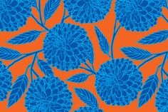 Navy Dahlia with Leaves fabric by perrodimeshift on Spoonflower - custom fabric