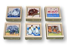 Atelier Fischer Wooden Block Cube Puzzle in Wooden Case - Zoo Animals Pieces) The game consists of 9 cubes that make 6 puzzle images - of zoo animals.Made in cubes Maple Cubes / Spruce BoxSize: Box