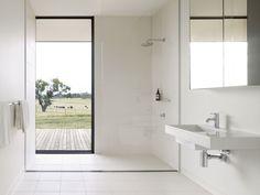 Modular housing project in Australia: Modern prefab modular homes bathroom farm view White Bathroom, Bathroom Interior, Modern Bathroom, Small Bathroom, Bathrooms, Prefab Modular Homes, Modular Housing, Australian Interior Design, Interior Design Awards