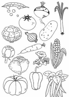 Coloring page vegetables, preschool food, coloring pages, children and parenting, More … - Healthy Food Art Vegetable Coloring Pages, Coloring Pages For Kids, Colouring Pages, Food Coloring, Coloring Sheets, Adult Coloring, Coloring Books, Preschool Food, Preschool Activities