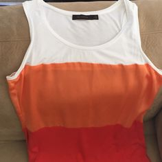 Super cute multi colored tank top Deep orange, light orange and white tank top The Limited Tops Tank Tops