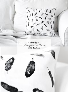 DIY Feder Kissen | Do it yourself Idee mit Textilfarbe | Upcycling | Kissenbezug gestalten bedrucken | Stempeln mit Feder Motiv | Wohnzimmer | Schlafzimmer | Anleitung Tutorial | Selbstgemacht | DIY Deko | DIY Einrichtung | Interior | Design | crafting | pillow with feathers | handmade | stamping with textile paint | black and white | Geschenke basteln | gift ideas | valentines day | Valentinstag | DIY pillow case | pillow decorative