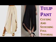 DIY: Tulip Pant Cutting And Stitching Full Tutorial Step By Step . Pants Pattern Free, Harem Pants Pattern, Diy Clothing, Clothing Patterns, Dress Patterns, Shirt Patterns, Sewing Patterns, Fashion Sewing, Diy Fashion