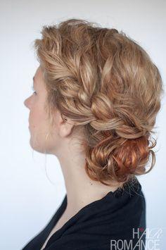 Hair Romance - curly bun and braid hairstyle tutorial