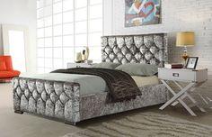 Crystal Crushed Velvet Fabric Upholstered Bed Frame, 4'6ft Double, 5ft kingsize in Home, Furniture & DIY, Furniture, Beds & Mattresses | eBay!