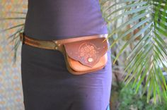 LeAthEr floWer BeLt bAg one of a kind hand tooled by LivitVivid