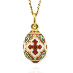 """EC-175 Faberge Style Egg Pendant Sterling Silver 925 22kt Gold Finish 7/8"""" 20"""" Sterling Silver Gold Chain Included"""