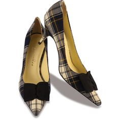 Tartan Rita ($348) ❤ liked on Polyvore featuring shoes, pumps, heels, sapatos, cipele, обувь, black heel pumps, kitten heel shoes, black bow shoes and mid heel shoes