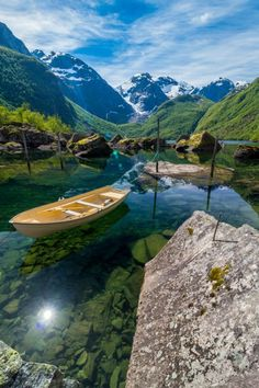 Bondhusdalen - A crystal clear lake fed by glacier, Norway