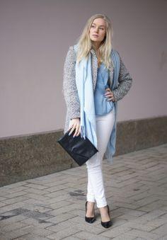 Blue shirt & high heels