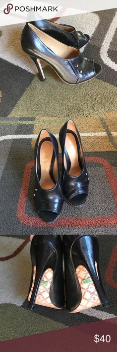 """L.A.M.B heels Black peep toe heels with gold button detail wear on bottom onlyleather uppermade in Brazil  heel measures 4.5""""  marked size 8.5 shoes seem to run a little big by about half a size would better fit a size 9 L.A.M.B. Shoes Heels"""