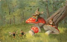 Full Sized Image: two dwarves sit on toadstools, one plays mandolin for two dancing wasps, the other observes Mushroom Drawing, Mushroom Art, Mushroom Decor, Mushroom Fungi, Woodland Creatures, Fantasy Creatures, Troll, Gnome Pictures, Mushroom Images