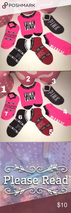 New! Choose 2 pairs of ❤️ PINK socks Yes they are all available✳️   Simply comment which #'s u would like Once purchase is made Not before.   Socks No tags❌ Not accepting offers on individual items❌ No trades❌                                                                                          Price is FIRM ✅  🔅•Prices for socks only•🔅 1 sock ❌ 2 socks $10 3 socks $15 4 socks $20 5 socks $25 6 socks $30 PINK Victoria's Secret Other