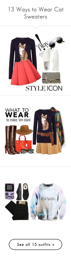 """13 Ways to Wear Cat Sweaters"" by polyvore-editorial ❤ liked on Polyvore featuring waystowear, CatSweaters, Sugarhill Boutique, Uniqlo, Coach, Christian Louboutin, Ray-Ban, RHYTHM, Acne Studios and tops"