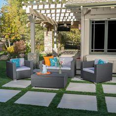 Noble House Murano Multi-Grey Wicker Patio Conversation Set with Grey Cushions// backyard design ideas on a budget Backyard Patio Designs, Small Backyard Landscaping, Pergola Patio, Pergola Kits, Pergola Ideas, Landscaping Ideas, My Patio Design, Landscaping Edging, Diy Patio