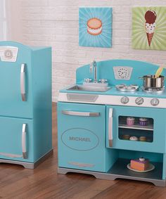 Another great find on #zulily! Blue & Gray Retro Kitchen Set & Refrigerator by KidKraft #zulilyfinds