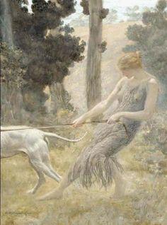 Edward Robert Hughes - PreRaphaelite  - Woman Walking Her Dog