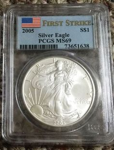 2005 W American Silver Eagle - Silver Dollar -  Silver Bullion - PCGS MS69 FIRST STRIKE Coin - Graded Coins - Collection - Silver Coinage by EarthlyCrystals33 on Etsy