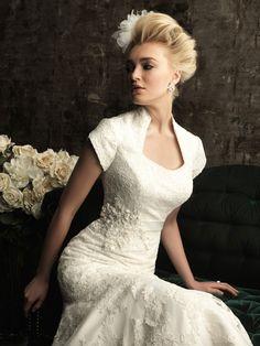 Allure Bridals M480 Modest Lace Wedding Dress