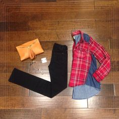 outfit of the day! #perle #sonoma #fall #fashion #plaid #denim #effortless #simple #style