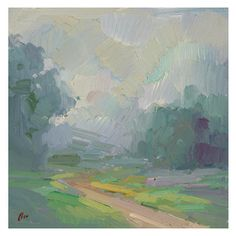 'Foggy Path' Framed Oil Painting - Mood changer. This contemporary landscape painting by Elio Camacho will soothe your senses with it's calm...