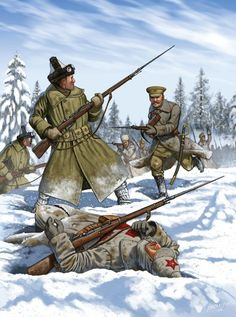 """The Battle of Tulgas (""""The Battle of Armistice Day"""") was part of the North Russia Intervention into the Russian Civil War and was fought between Allied and Bolshevik troops on the Northern Dvina River 200 miles south of Archangel.:"""