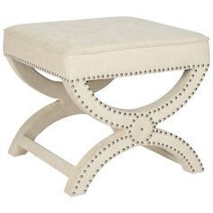 Option for under entry table.  Made of Pine and Linen. $209.99  Dante X-Bench Cream Ottoman | Overstock.com