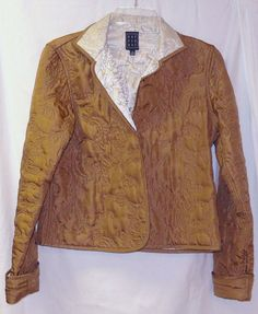 DUE PER DUE Jacket size 4 Quilted bronze cream Open front SILK Reversible #DuePerDue #BasicJacket