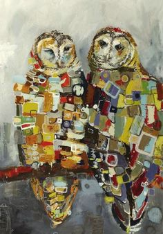 Britt Freda - 24x36 inches - Spotted Owl Pair: Looking Forward Looking Back