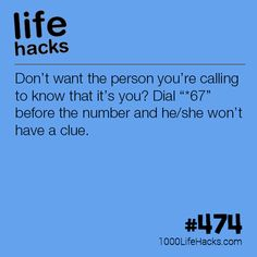 Block Your Number When Making Calls - 1000 Life HacksImprove your life one hack at a time. 1000 Life Hacks, DIYs, tips, tricks and More. Start living life to the fullest!Dial before a phone number to remain anonymous.This actually works and it won't Life Hacks Phone, Iphone Hacks, Android Hacks, Life Hacks Computer, Iphone 7, Simple Life Hacks, Useful Life Hacks, 25 Life Hacks, College Life Hacks