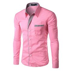 10+Colors+High+Quality+Men's+Slim+Fit+Pin+Stripe+Formal+Business+Long+Sleeve+Dress+shirt+,Work+/+Formal+Solid+Shirt+–+USD+$+8.99