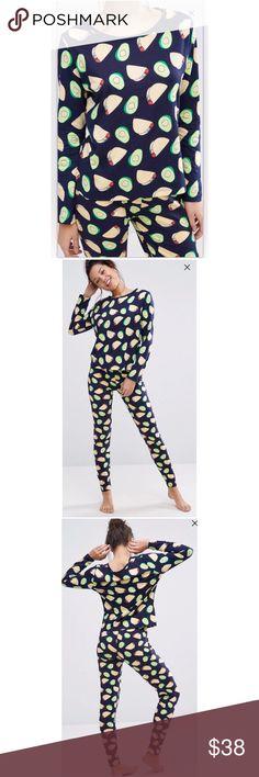 ASOS Avocado and Taco Pajamas Set ASOS Avocado & Taco Long sleeve tee and legging pajama set- brand new with tags! ASOS Intimates & Sleepwear Pajamas