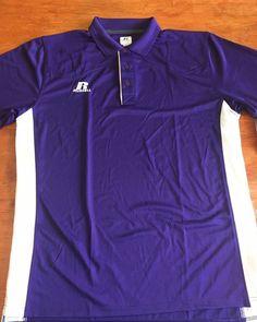 99ef6f426 Purple White Russell Athletic Men's dri-power Polo Large New #RussellAthletic  Russell Athletic,