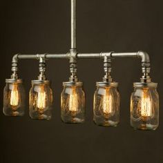 Vintage galvanised plumbing pipe Widemouth jar Chandelier E27 240V in galvanised steel water pipe and Balls jar fitting light that can be used to light up a table or bar area.