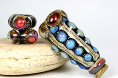 Handmade lampwork glass bead supplies pendant set by LoriLochner, $38.00
