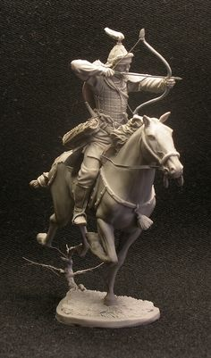 Sculptor Igor Kordyukov - Mongolian horse archer, 13-14 century. 54mm