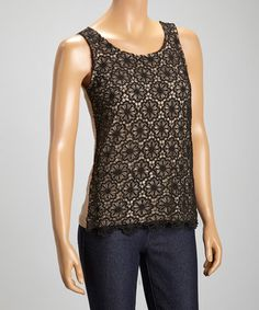 Black & Taupe Lace Sleeveless Top #zulily #zulilyfinds