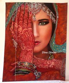Peinture Pastel Sec pour Tableau Bohème Ethnique Indien, Portrait ° INDIRA °° - PEINT A LA MAIN - PASTEL SEC