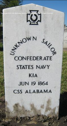 Unknown Confederate Sailor, CSS Alabama. Confederate Monuments, Confederate States Of America, American Civil War, American History, War Memorials, Mobile Alabama, Rebel Yell, Southern Heritage, Civil War Photos