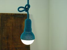 Lampe, crocheted pendant light by  et aussi on clippings.com €89,90 #pendantlight #teal #crochet #etaussi #clippings