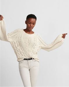 Express: Cable Knit Chenille Boat Neck Balloon Sleeve Sweater in size Medium