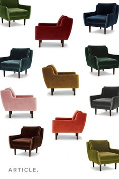 Vivacious velvets, and twelve of them. The Matrix chair line has expanded. I'm so obsessed with pink accent chairs! Red Accent Chair, Small Accent Chairs, Accent Chairs For Living Room, Dining Room, White Bedroom Chair, Small Chair For Bedroom, Glider Recliner Chair, Chair Cushions, Chair Pads
