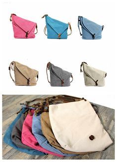 Canvas Leather Satchel Bag, Waxed Canvas Messenger Bag Crossbody Bag Shoulder Bag