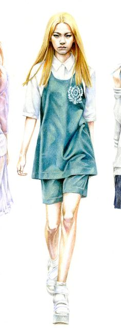 Week 2 Low classic 2014 s/s - Korea by Halla Kang, via Behance Colour pencils Fashion Illustration Sketches, Fashion Sketchbook, Fashion Design Sketches, Illustrations, Colorful Fashion, I Love Fashion, Trendy Fashion, Fashion Art, Fashion Drawings