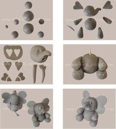 Explications pas à pas pour réaliser un modelage d'éléphant en pâte à sucre. Il vous faut de la pâte à sucre grise et un peu de blanc et de noir pour les yeux. Vous pouvez trouver de la pâte à sucre ici.