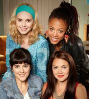 """Switch. 2012, 6 episodes.  Hannah, Jude, Grace and Stella are a coven of witches in present-day London.  You'd think that would make life easy.  I found most of it on YouTube, subtitled in Italian.  And sometimes http://www.movie25.mobi/watchseries/season-1/switch_(uk) co-operates.  (Non-scary, but tons of swearing and implied sex.)  """"Witches of East End"""" didn't hold my attention as much, and """"The Secret Circle"""" was for teenagers."""