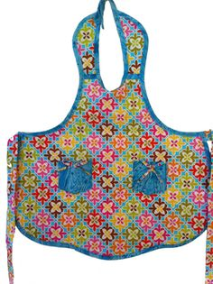 Girls Turquoise Kaleidoscope Apron (Size 5/6)   I just LOVE these colors   $16.50 Etsy.com