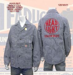 【楽天市場】HEAD LIGHT ヘッドライト HEAD LIGHT社実名 Made In USA HICKORY STRIPE WORK JACKET HD11763_128:ヒノヤ