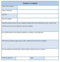 Sample Human Resources Complaint Template Is Available Online In