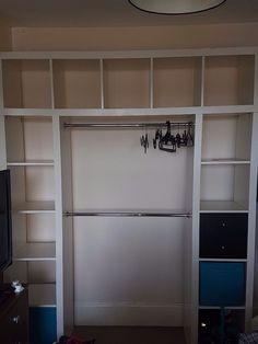 malm dresser walk in closet Kallax, Walk In Wardrobe, Walk In Closet, Malm Dresser, Steampunk Theme, Two Bedroom, Ikea Hack, Colour Schemes, Dressing Room